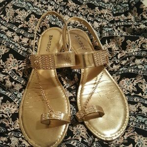 Gold rhinestone bamboo sandals